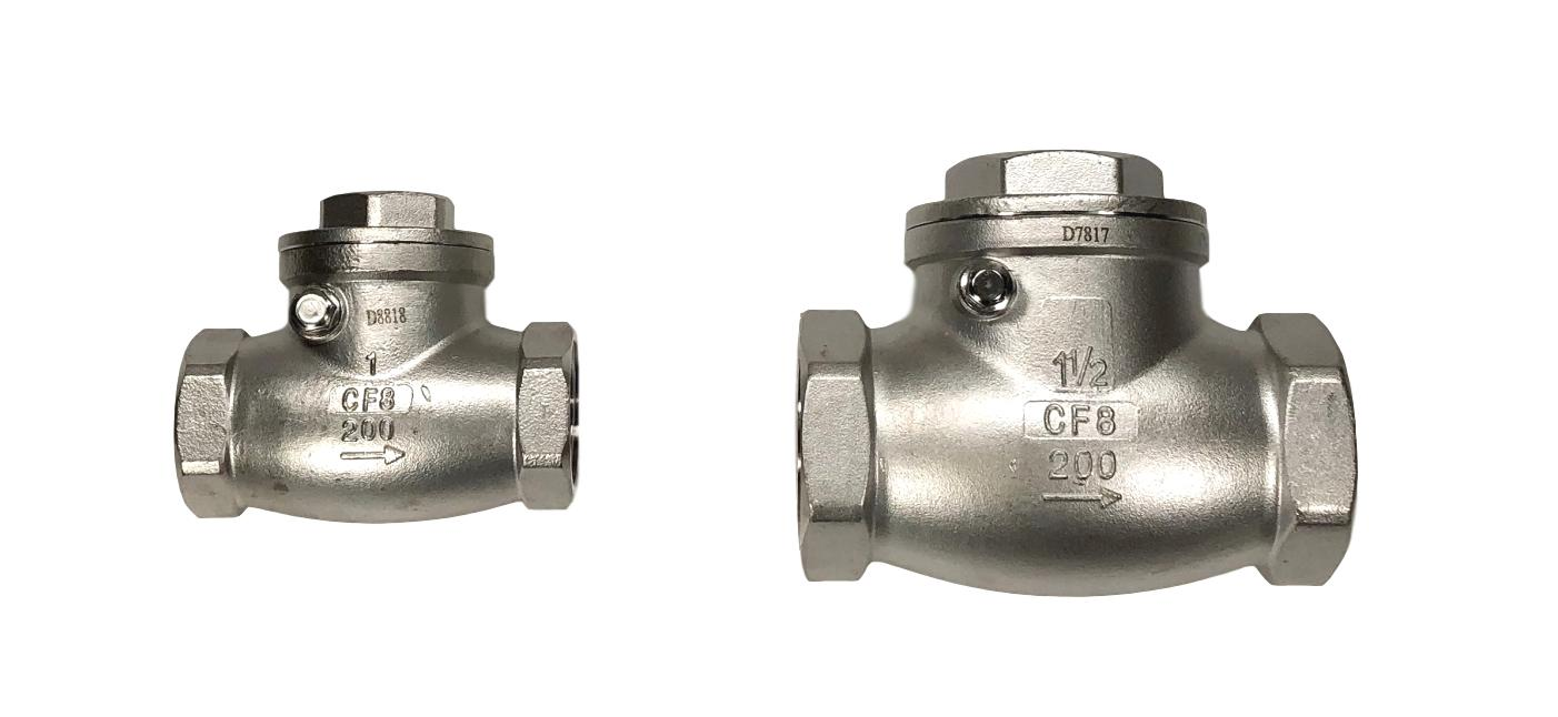 Stainless Steel Swing Check Valve 304SS  F-NPT by F-NPT threaded ends